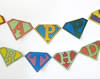 Instant Download Superhero multi colored Banner Flag Garland Printable Print it yourself Happy Birthday Party