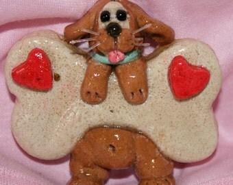 Dog Hanging on a Bone Salt Dough Ornament