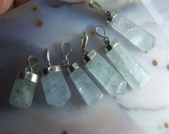Aquamarine crystal Sterling Silver necklace pendants - black cord or chain - faceted gemstone points  light blue aqua stone with cap bail