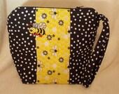 ON SALE Bumble Bee Bag, Bee Makeup Clutch Mini Wristlet, Bumble Bee Zippered Bag, Bee Mini Bag, Travel Overnight Small Bag, Bee Wristlet