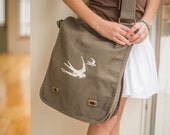Indie Military Green Bird Canvas Messenger Bag