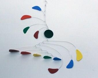 Calder Inspired Mobile, Modern Mobile, Nursery Mobile, Playroom Art, Horizontal Elements, Rainbow Mobile, Kids Room Mobile, Baby Shower Gift