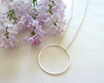 Big Circle Necklace , Layering Necklace - Fine Silver Necklace, Silver Necklace , Circle Necklace - Circle