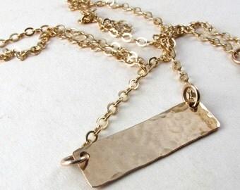 Hammered gold bar necklace, Gold filled bar on gold filled chain, delicate gold necklace