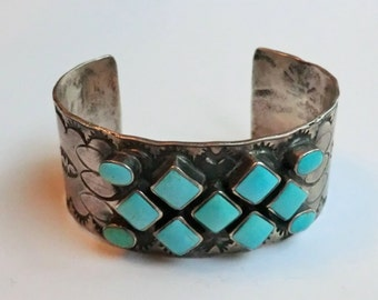 Vintage Turquoise Sterling Wide Cuff Bracelet 54 grams Signed Bohemian Fashion Wide Cuff