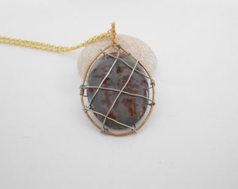 Gray Agate Pendant Crazy Horse Agate Wire Wrapped Agate Crazy Horse Cabochon Gold Tone Chain Copper Agate Pendant Crazy Horse Pendant