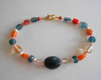 Blue Beads Bracelet Orange Beads Bracelet Glass Beads Dark Blue Bracelet Orange Bracelet Beaded Bracelet Gold Tone Findings