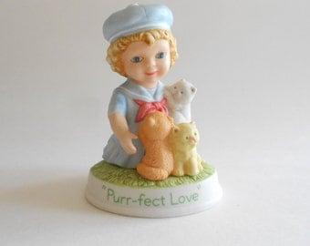 Girl Figurine Vintage 1991 Avon Figurine Purr-fect Love Tender Memories Girl Statue Avon Statue Collectible Figurine Girl With Kittens