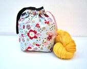Sock Knitting Project Bag Hexipuff Small Crochet WIP Bag - Cherry Blossom