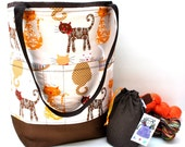 Studio Tote Extra Large Knitting Project Crochet WIP Tote Bag - Calico Kitties