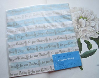 Vintage Wrapping Paper * Wedding Gift Wrapping * Charm Craft, Blue and White Wrapping,