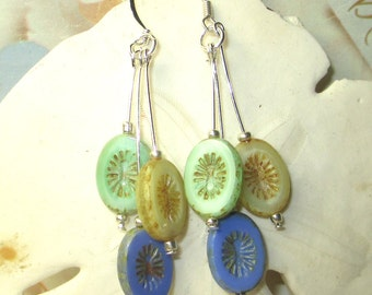 Vintage Czech oval beads in blue, green and yellow dangle earrings, czech beaded earrings, blue earrings, green earrings, yellow earrings