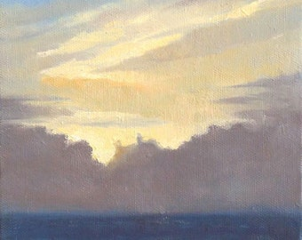 Light of Dawn, 6x6 Oil on Canvas Daily Painting, Skyscape Over Ocean, Yellow and Gray