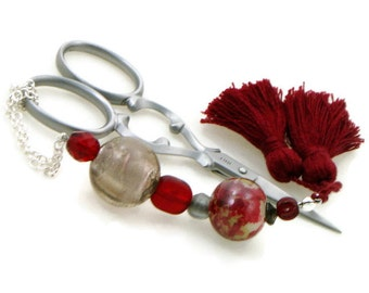 Dark Red Gray Scissor Fob Scissor Keeper Scissor Minder Cross Stitch Needlepoint Hardanger Sewing Quilting DIY Crafts