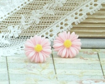 Pink Daisy Studs Pink Stud Earrings Pink Flower Stud Earrings Surgical Steel Studs Pink Daisy Earrings