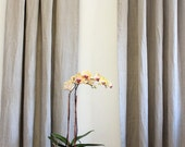 "IRIS..Pocket rod top...A pair of  linen curtain panel with 8"" hemmed ruffle...(2 panels)"