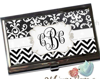 Chevron Damask Business Card Holder - Personalized FREE!
