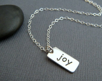 silver joy necklace. tiny sterling inspirational jewelry inspiring quote motto affirmation small simple word pendant. good luck charm. gift