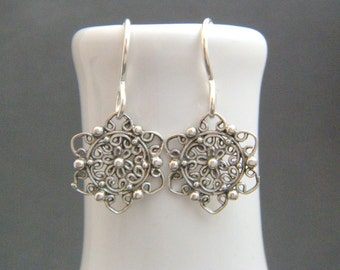 """small silver flower earrings. ornate filigree sterling silver dangle. boho bohemian everyday jewelry. nature. simple gift for her women 1/2"""""""