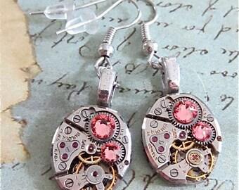 Steampunk ear gear - Light Rose - Steampunk Earrings - Repurposed art