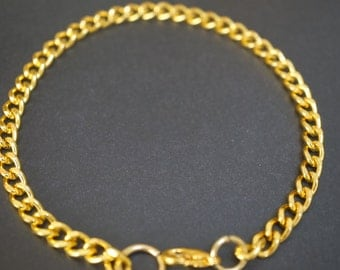 BULK CLEARANCE - Large Ring Thick Solid Brass 18K Plated Finished Bracelet Chain 11 inches - Rings are 2.5mm Thick - 20 pieces (No Coupon)