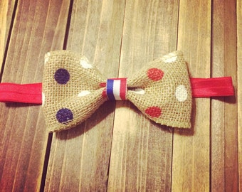 Americana Bow! Red, white and blue polka dot burlap bow.