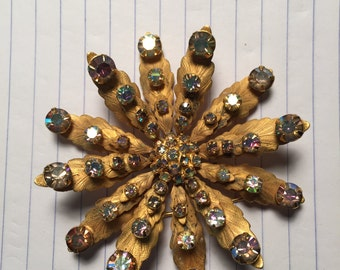 """2 7/8"""" 1950 brushed metal flower brooch"""