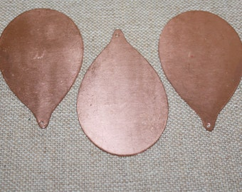 Copper Stamping, Copper Teardrop, Metal Stamping, Enameling Supplies, Copper Supplies, 18 Gauge