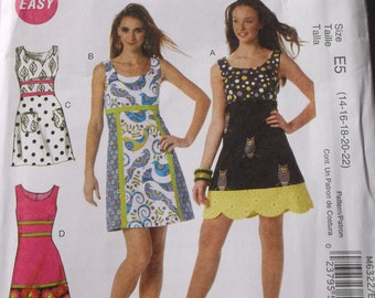 Misses Dress Pattern Mccalls M6322 Misses Sleeveless Dress Size 14,16,18,20,22,
