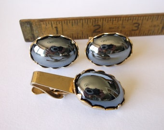 1960s Mens Hipster Reflecting Hematite Cufflink and Tie Clip Set