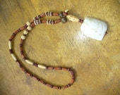 Camel Tooth Necklace Arabia Egypt Wooden Beads Vintage Boho Hippie Animal Totem Weird Unique OOAK