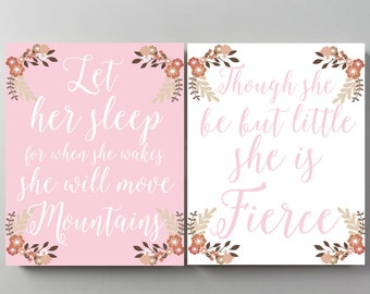 Nursery Scripture Art Baptism gift girl Let her sleep for when she wakes she will move mountains Though she be but little she is fierce