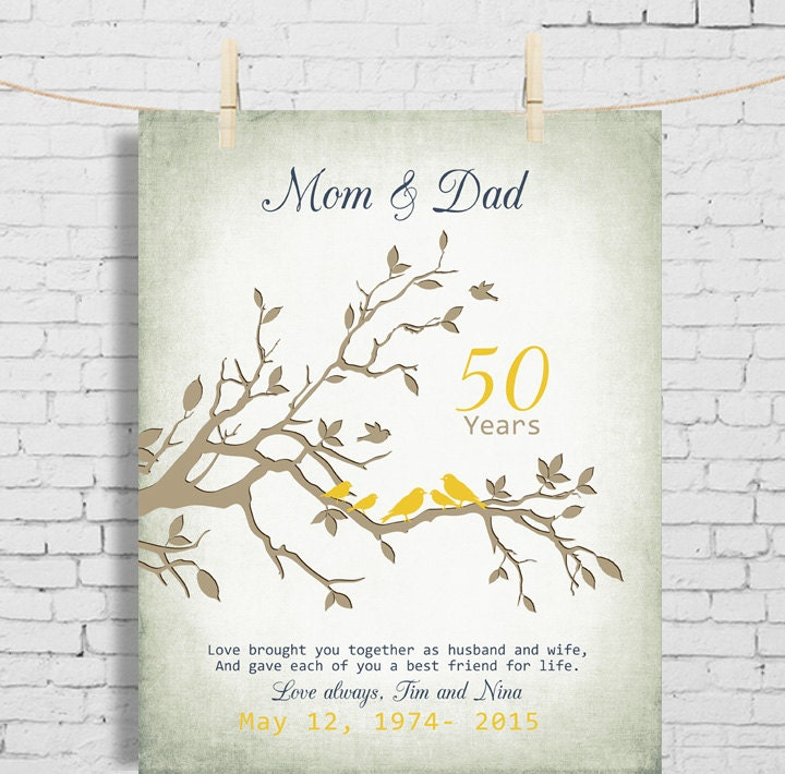 50th wedding anniversary gift anniversary gift for parents for Gifts for parents on anniversary
