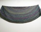 Muted Rainbow Stripe Handspun Shawl, Hand knit shawl, Blue Turquoise, Merino and Alpaca, Bamboo Cashmere soft, Purple, Blue Green, Grey