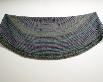 Sale Muted Rainbow Stripe Handspun Shawl, Hand knit shawl, Blue Turquoise, Merino and Alpaca, Bamboo Cashmere soft, Purple, Blue Green, Grey