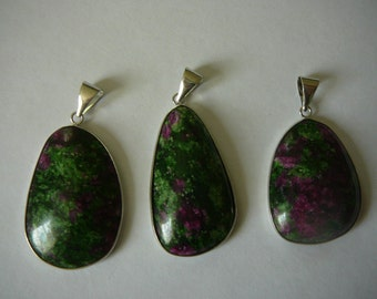 Large Ruby in Zoisite Pendants with Silver Setting and Bail - Your Choice