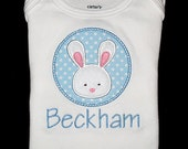 Custom Personalized Applique Boy EASTER BUNNY and NAME Bodysuit or Shirt - Blue, Yellow, Green, Pink, or Lavender