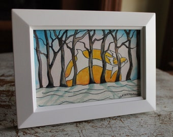 """Original Small Framed Watercolor 4"""" x 6"""" Whimsical Fairy Angel Winter Forest"""