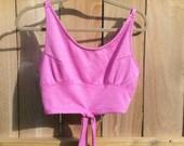 Crop Top PINK Purple Magenta Vintage Women's
