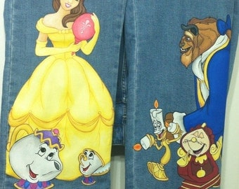 Custom Adult Disney Hand Painted beauty and beast Belle Extra large  characters on long Jeans or capri jeans ...You Send