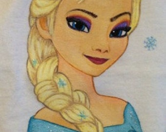 ADULT SIZE Custom Clothing Disney Princess Painted Shirt Choice of character and size up to XL