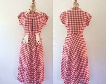 1940s dress / vintage cotton dress / Desilu dress