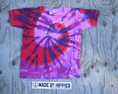 Jazzy Pinks Spiral Tie Dye T-Shirt (Gildan Youth Size XS) (One of a Kind)