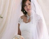 2 Tier Bridal Veil with Satin Edge, Bridal Veil, Wedding Veil, Satin Trim Veil
