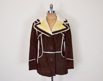 Vintage 70s Brown Leather Coat Jacket Suede Coat Faux Shearling Coat Sherpa Lined Western Coat Ranch Coat Marlboro Man Hippie Coat Boho M L