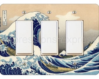 Kanagawa Great Wave Hokusai Painting Triple Decora Rocker Light Switch Plate Cover