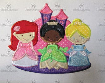 Princess Trio - Cindy, Ariel, Tiana -  Iron On or Sew On Embroidered Made To Order Applique
