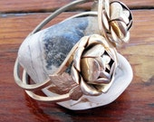 Gold Tone Double Rose Spring Closure Cuff Bracelet for Her Rose Roses