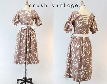 80s Dress Lanz Open Back Small / 1980s Cotton Dress Cage Back / Oahu Vacation Dress