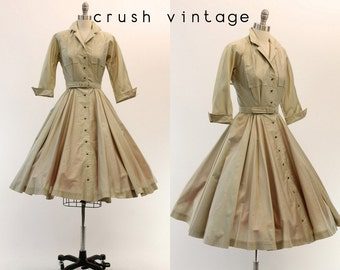 1950s Dress Shirtwaist XS / 50s Polished Cotton Dress / Gâteau à la Broche Dress